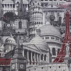 Микровелюр Architecture red-grey (Архитектура ред-грей)