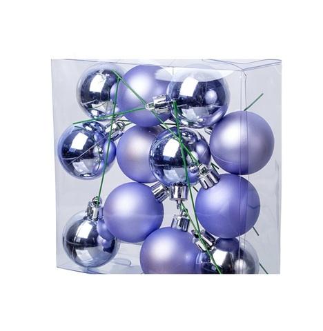 Набор шаров на проволоке 12шт. (пластик), D4см, цвет: сиреневый