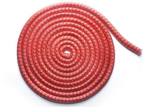 Скакалка для художественной гимнастики с люрексом. Материал: полиамид. Длина 3 м.  Количество прядей - 40. Цвет: красный с серебром. TS-KC