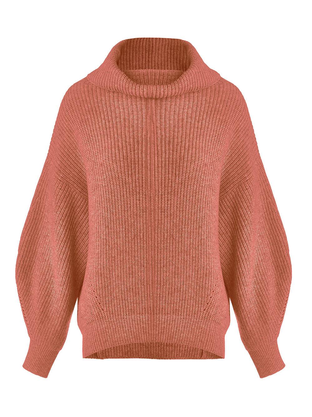 Женский свитер терракотового цвета из шерсти и кашемира - фото 1