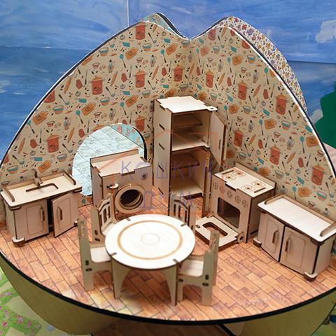 Модель деревянная сборная мебель для кухни