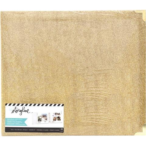 Альбом на кольцах для Project Life ( для файлов 30х30 см)Heidi Swapp Storyline 3 D-Ring Album- Gold Glitter
