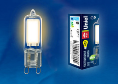 LED-JCD-4W/WW/G9/CL GLZ01TR Лампа светодиодная, прозрачная. Теплый белый свет (3000К). Картон. ТМ Uniel