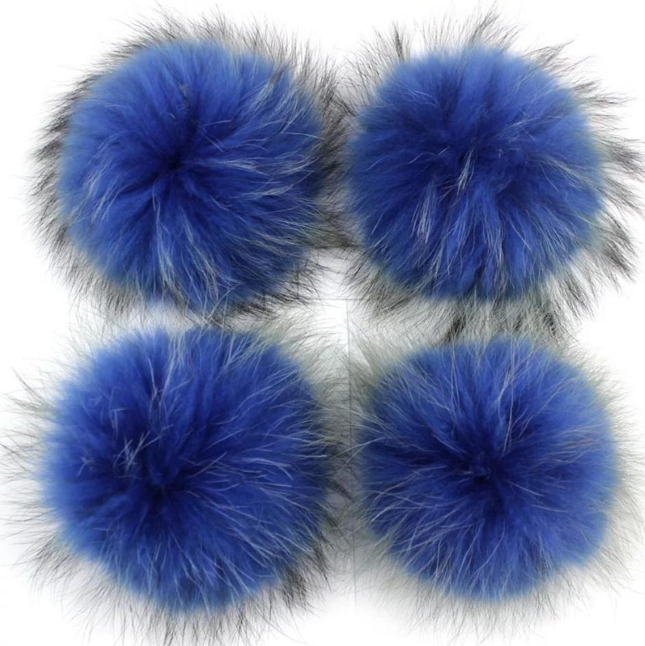 Помпон на кнопке из натурального меха енот 15-18см. Темно-Синий.
