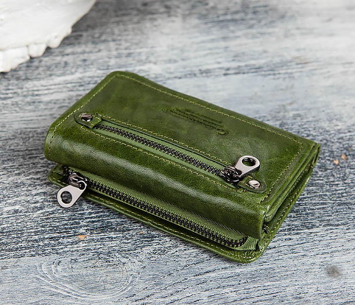WL299-4 Зеленый кожаный кошелек с монетницей фото 02