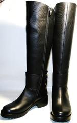 Сапоги женские зимние кожаные черные на низком каблуке европейки