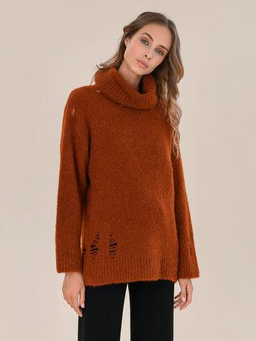 Женский свитер терракотового цвета из шерсти - фото 2