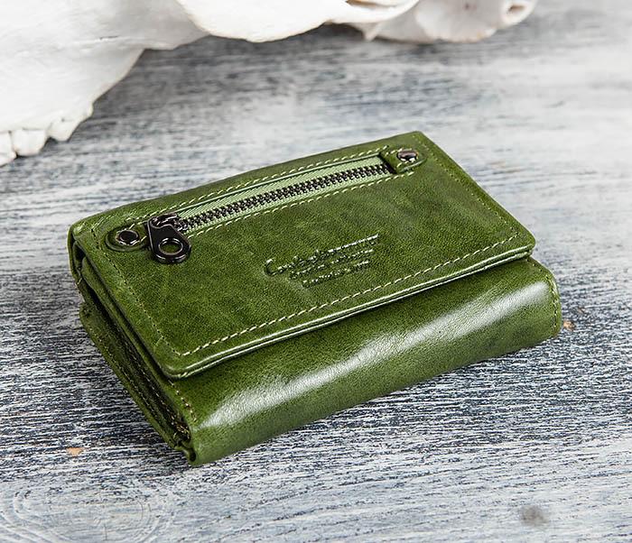 WL299-4 Зеленый кожаный кошелек с монетницей фото 03