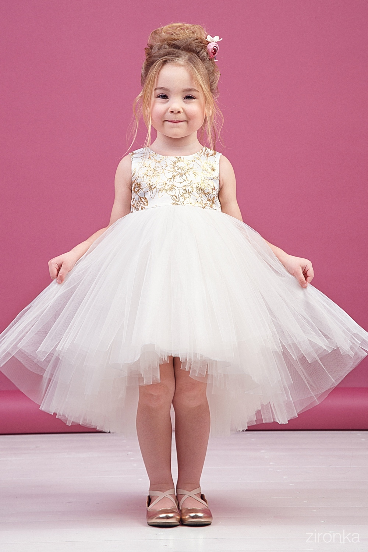 Платье белое для девочки 38-9010-1