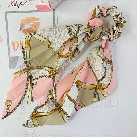 Резинка для волос с платком Рисунок Цепи (цвет: бежевый, розовый)