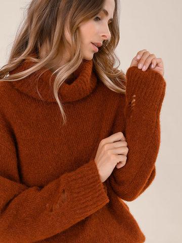 Женский свитер терракотового цвета из шерсти - фото 3
