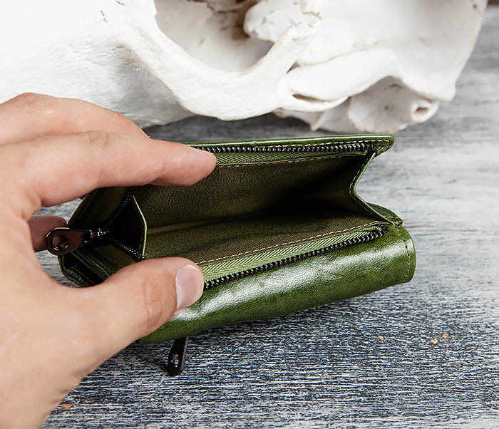 WL299-4 Зеленый кожаный кошелек с монетницей фото 04
