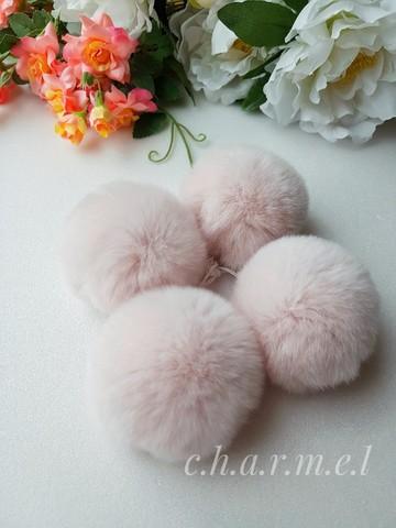 Помпон из натурального меха, Кролик, 5-6 см, цвет Пудра, 2 штуки