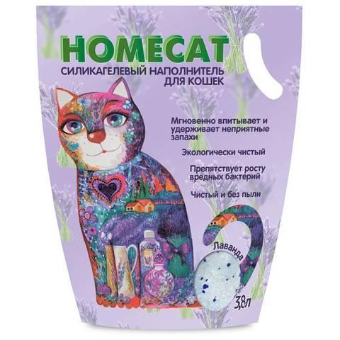 HOMECAT Лаванда силикагелевый наполнитель для кошачьих туалетов с ароматом лаванды 3,8л