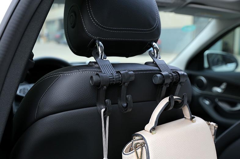 Автомобильный крючок держатель для пакетов и сумок двойной фото