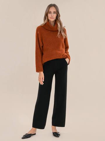 Женский свитер терракотового цвета из шерсти - фото 5