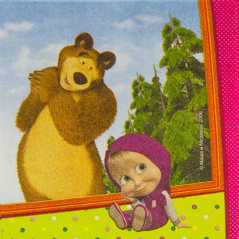 Салфетка Маша и Медведь 33см 12 штук