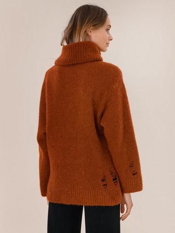 Женский свитер терракотового цвета из шерсти - фото 4