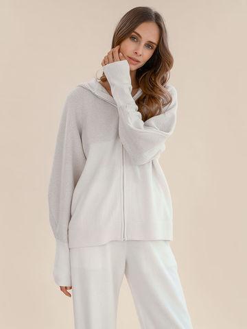 Женский джемпер на молнии молочного цвета из шерсти и кашемира - фото 2