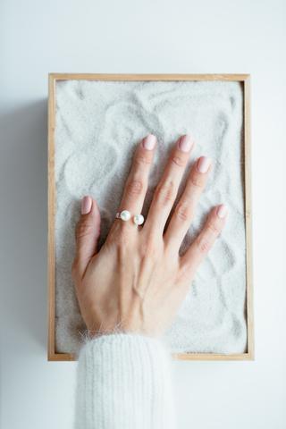 Серебряное разъемное кольцо с жемчугом