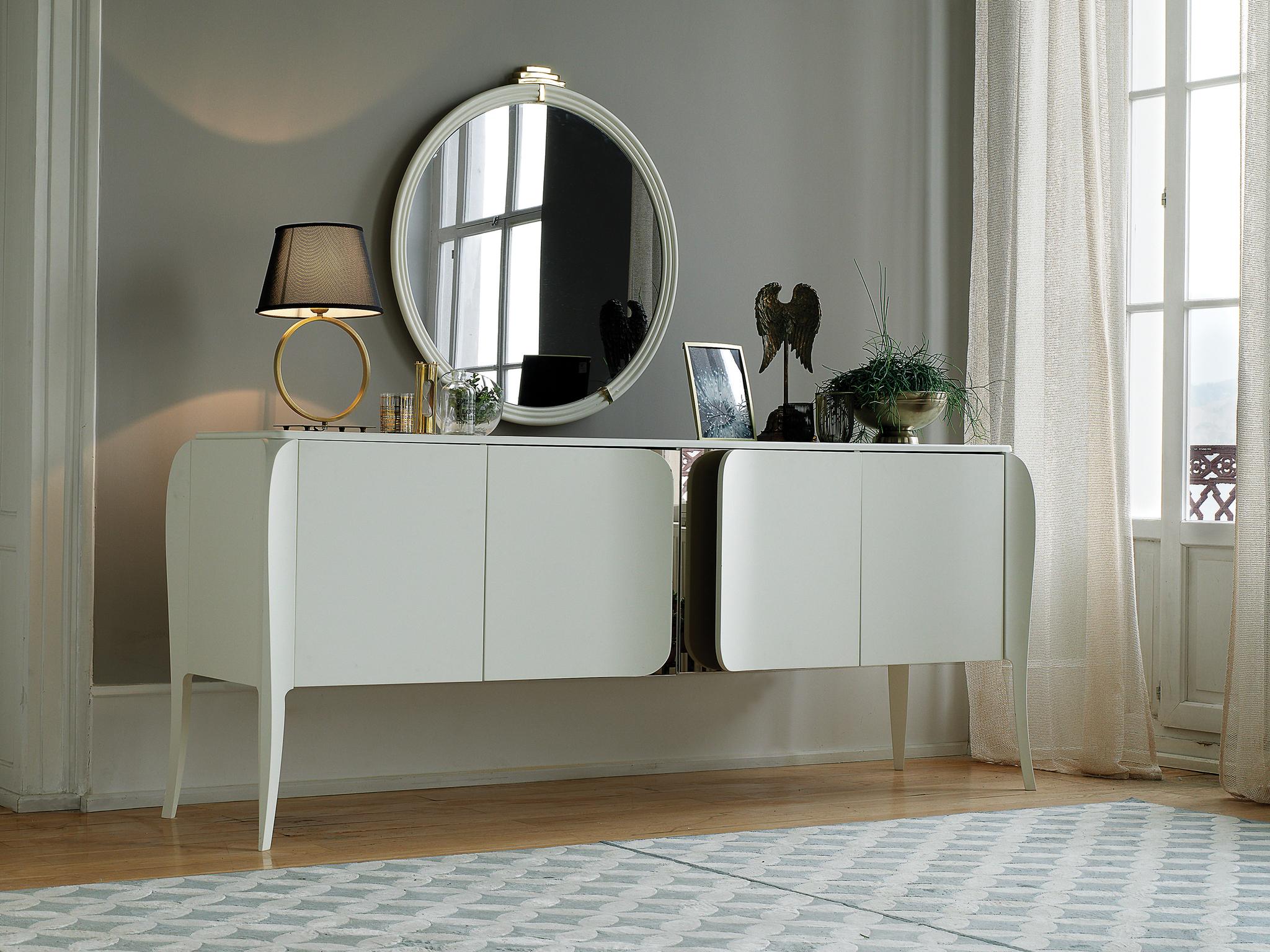 Зеркало ANGEL (92x96x3,5) Enza Home белый и сервант ANGEL (гостиная) белый