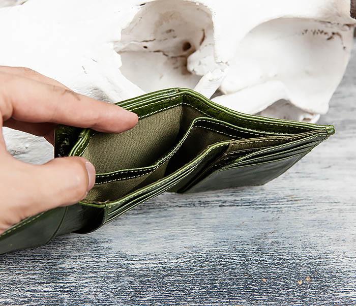 WL299-4 Зеленый кожаный кошелек с монетницей фото 09