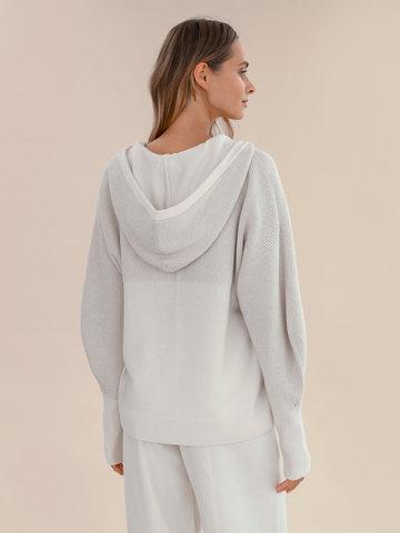 Женский джемпер на молнии молочного цвета из шерсти и кашемира - фото 4