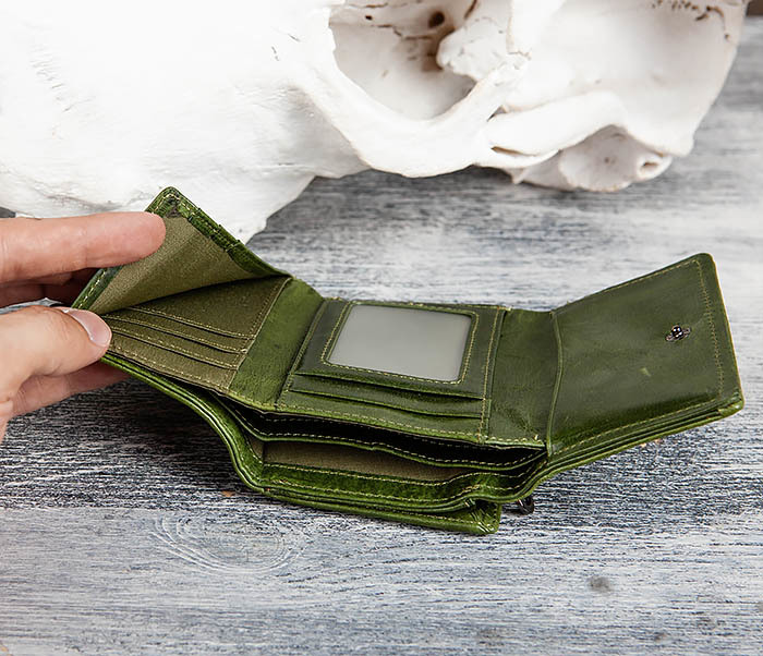 WL299-4 Зеленый кожаный кошелек с монетницей фото 10