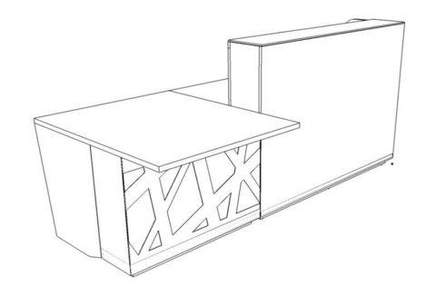 Стойка ресепшн с низким модулем, без орнамента с LED подсветкой