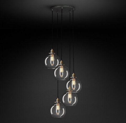 Подвесной светильник копия 20th C. Factory Filament Clear Glass Caf? Round Pendant by Restoration Hardware