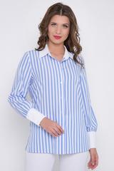 """<p>Шикарная рубашка свободного кроя в модный принт """"полоска"""". Манжеты и ворот выполнены в контрастном тоне, придавая изюминку этому образу.</p>"""