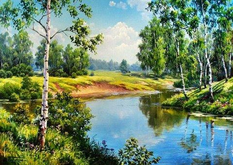 Картина раскраска по номерам 50x65 У пруда