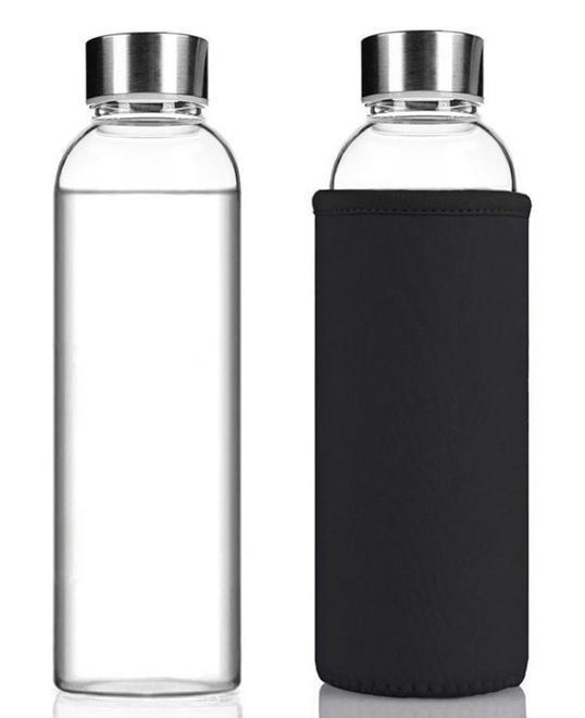 Бутылка из боросиликатного стекла с чехлом 550 мл. черная