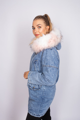 зимняя джинсовая куртка с мехом женская интернет-магазин