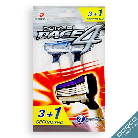 Dorco Pace 4 Одноразовые станки для бритья с 4 лезвиями 4шт. (3+1шт. в подарок)