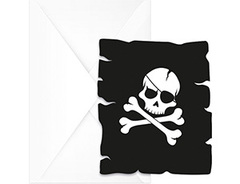 Приглашение, Череп Пирата черный, 6шт, 1уп.