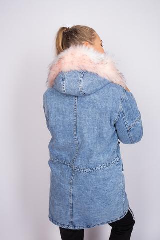 зимняя джинсовая куртка с мехом женская недорого