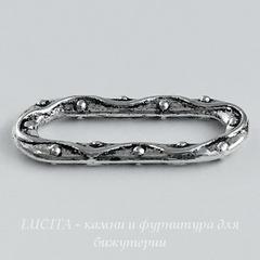 Коннектор - кольцо вытянутое 20х9 мм (цвет - античное серебро)