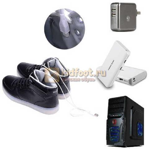 Светящиеся высокие кроссовки с USB зарядкой Fashion (Фэшн) на шнурках и липучках, цвет черный, светится вся подошва. Изображение 22 из 22.