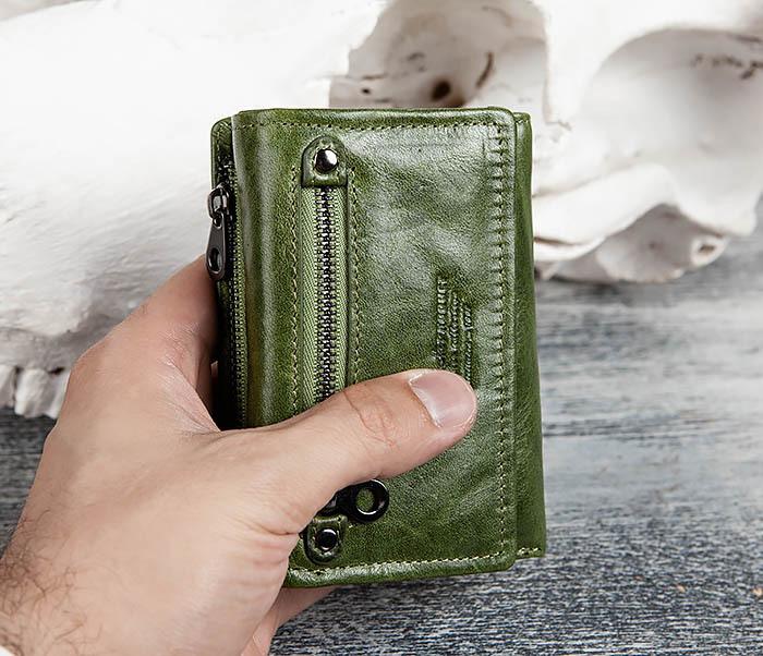 WL299-4 Зеленый кожаный кошелек с монетницей фото 14