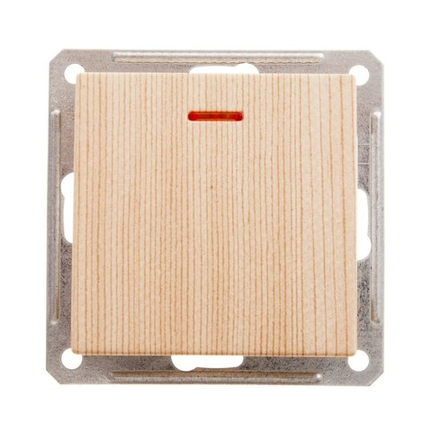 Выключатель одноклавишный с подсветкой, 16АХ. Цвет Сосна. Schneider Electric Wessen 59. VS116-153-7-86