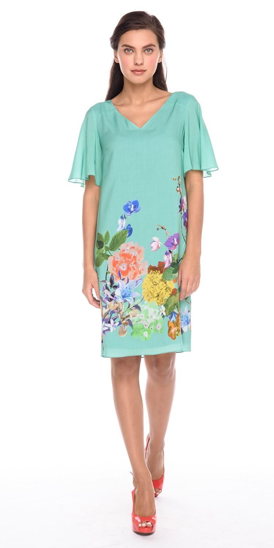 Платье З190-131 - Летнее платье свободной формы с V-образным вырезом и расклешенными рукавами. Глубокий V-образный вырез на спинке украшен широкими лентами, которые можно завязать на бант или на узел. Яркое и комфортное платье украсит летний повседневный образ.