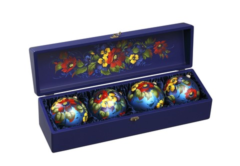 Zhostovo Christmas balls in wooden box - set of 4 balls SET04D-667785825