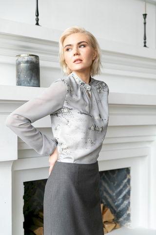Фото блузка с манжетами на резинке и длинными рукавами из полупрозрачной ткани - Блуза Г724-101 (1)