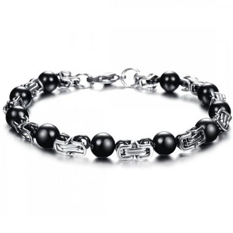 Оригинальный стильный стальной мужской браслет с интересным плетением плоский лисий хвост с чёрными шариками mn00323