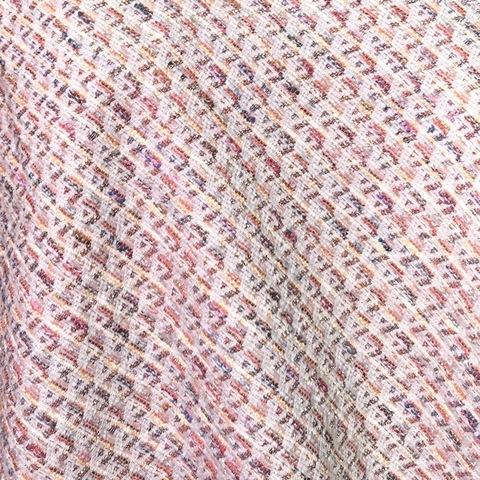 Ткань твид летний коралловый ромб 3014
