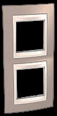 Рамка на 2 поста. Цвет вертикальная Коричневый/Белый. Schneider electric Unica Хамелеон. MGU6.004V.874