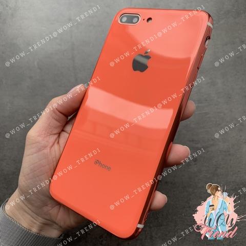 Чехол iPhone 7/8 Plus Glass Silicone Case Logo /orange/
