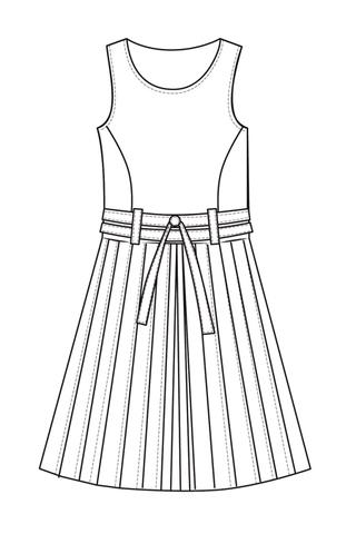 Выкройка сарафана, отрезного по линии талии с юбкой в складку перед