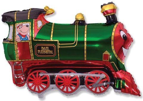 Фольгированный шар Поезд зеленый